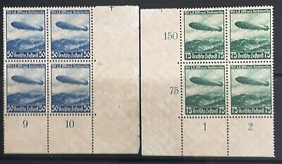 Germany Third Reich 1936 Airship LZ129 in Blocks of 4 MNH