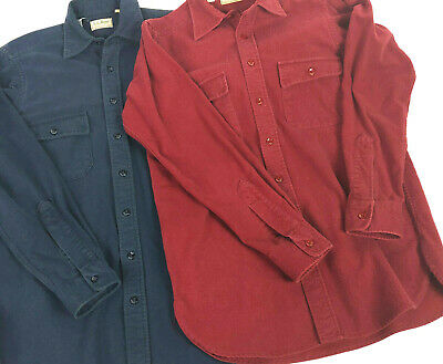 Vintage Mens LL Bean LOT OF 2 Blue Red Chamois Cloth Flannel Shirts USA 15 Tall