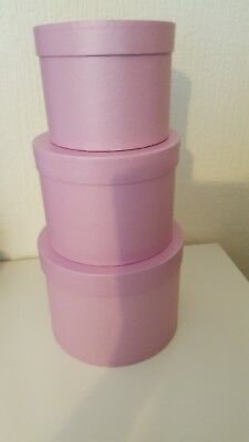 NEW IN  LILAC HAT BOXES SET OF THREE IN Lilac BEAUTIFUL   SHADE 5 day sale