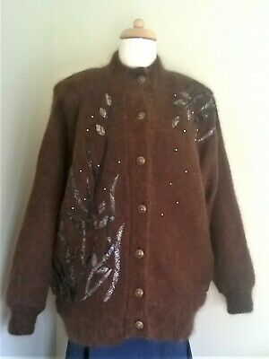 Vintage 80s Lined Cardigan Mohair Blend Brown Free Size approx 16 - 18 Casamia