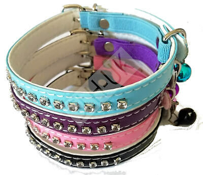 Designer Bling Crystal Diamante Cat Collar With Bell Pink/Blue MULTIBUY DISCOUNT