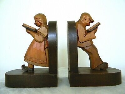 Rare Pair of Vintage Antique Carved Wooden Bookends 1900 German Handmade Painted