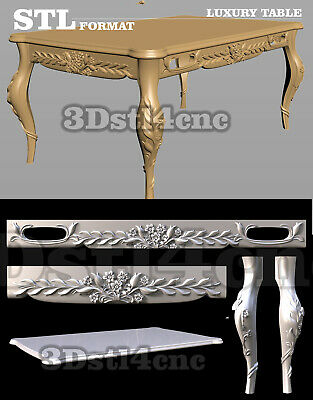 5 3D STL Models Luxury Table 3003 for CNC Router Carving Machine Artcam aspire