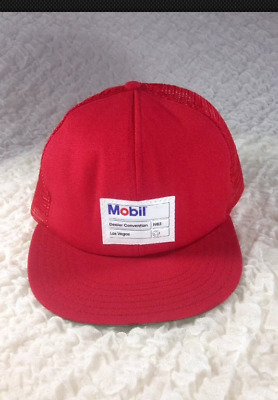 Vintage Mobil Oil Hat 1983 Dealer Convention Las Vegas Trucker Mesh Hat