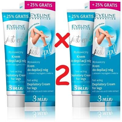 2 x Eveline Just Epil 3min Fast-Acting Depilatory Cream for Legs Aloe Vera 250ml