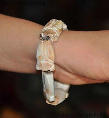 China Liangzhu culture old jade Carved cicada cicala amulet bracelet hand chain