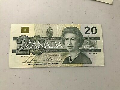 * Canadian 1991 series 20 twenty dollar bill bills bank notes circulated fair