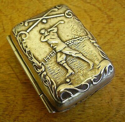 Old Vintage Sterling 925 Silver Golfing Golf Stamp or Pill Snuff Box