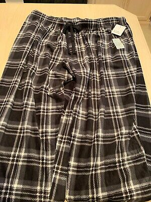Croft/&Barrow Men Big//Tall 2XLT Flannel Pajama Pants Black//White//Gray Plaid