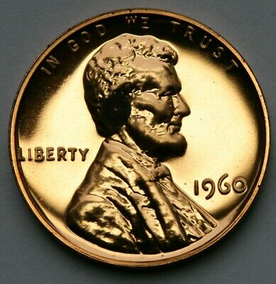 1960 Lincoln Memorial Cent Gem Proof Penny Has Spot Low Grade US Coin