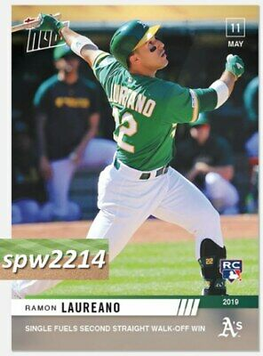 2019 Topps Now Ramon Laureano RC #215 Single Fuels Second Straight Walk-Off Win