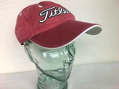 Titleist New Era Golf Hat/Cap Red, Large White Logo, White Stars, Strapback OSFA