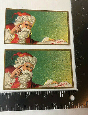 Vtg Christmas Lables Embossed Santa Claus Lot Of 2