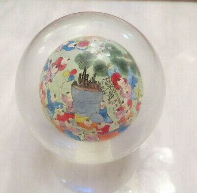 Antique Chinese Glass Ball reverse painted Children Signed