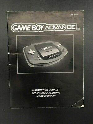 Official Nintendo Gameboy Advance Instruction Booklet Manual