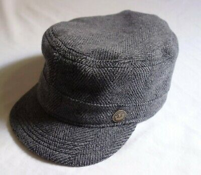 6f636f881bc3b GOORIN BROTHERS Wool Cadet Cap - Grey Herringbone Pattern. Large - NEW