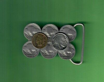 "1936 Buffalo Nickel 1905 Indian Head Cent Belt Buckle 7 Nickels For 1 1/2"" Belt"