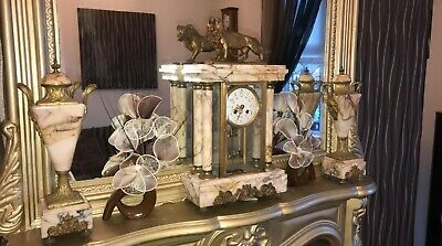 ANTIQUE French 8 Day Marble clock set  GARNITURES