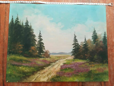VINTAGE BEAUTIFUL OIL ON BOARD PAINTING LANDSCAPE ROAD in the FOREST  SIGNED
