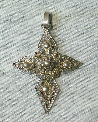 Antique Russian Orthodox Christianity Sterling Silver 925 Filigree Cross Pendant