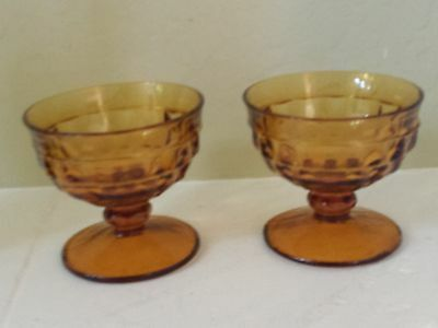 Vtg Set Of2 Amber Indiana Glass Colony Whitehall Footed Dessert Glasses
