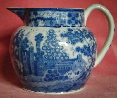 Blue Transferware Jug Early European Scene Chinoiserie Style Pearlware c.1805