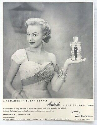1944 Vintage Lentheric Anticipation Perfume Pretty Woman Black Veil Ad Collectibles