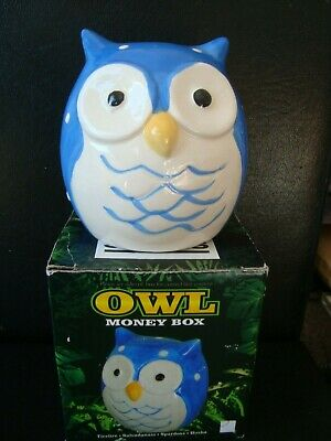 Owl Piggy Bank / Moneybox - Blue & White Brand New Boxed Really Useful & Cute