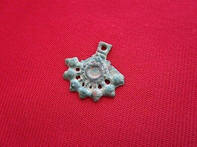 Ancient Celtic pendant / amulet . stylized tree  - bronze - I century BC . 4