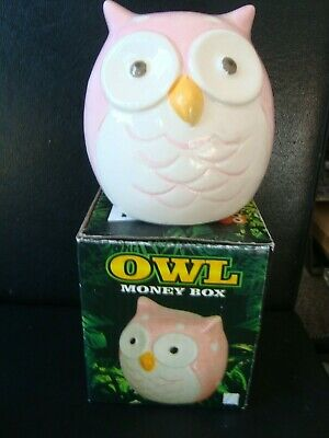 Owl Piggy Bank / Moneybox - Pink & White Brand New Boxed Really Useful & Cute
