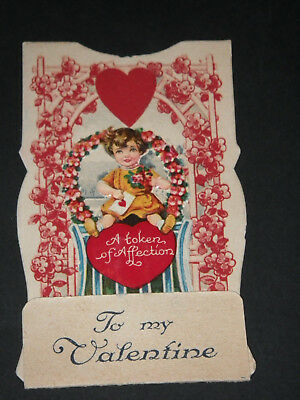Old vintage antique Valentine's Day card from the 1900's 1932 MECHANICAL