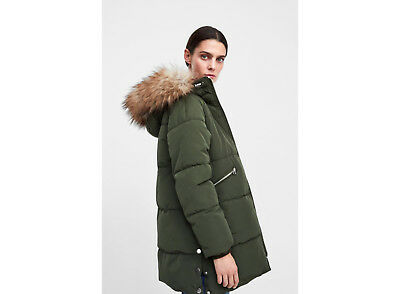 e373fb82 Ladies Zara Green Down Quilted Jacket Coat Parka Puffa Puffer Anorak -Size  XS-M