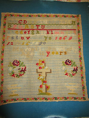 Antique early Sampler Embroidery dated 1869 primitive Marcell Powderly