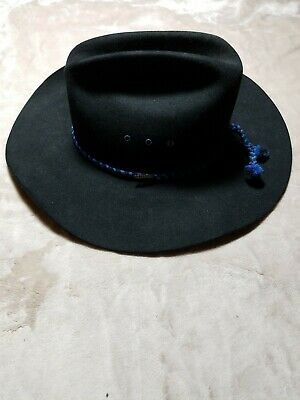 5449bb157a176 VTG Resistol Self Conforming Long Oval Black 4X Beaver Cowboy Hat 7 3 8