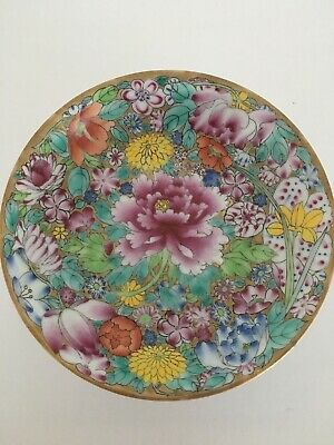 Antique Chinese Porcelain Plate Famille Rose QianLong Stamped Gold