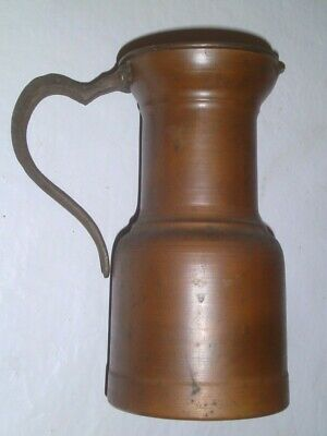 Vintage  Copper  Pitcher/Ewer w/Riveted Iron Handle