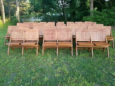 Antique Folding Church Chairs Theater Seats, Stadium Seats*Train Station Benches