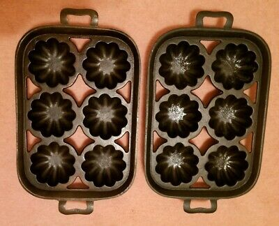 Pair of Old Lodge Cast Iron Turk Head Gem Pan #19 bread baking muffin pans 1900s