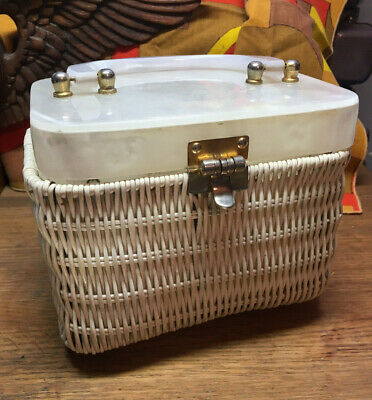 Vintage White Wicker Basket Weave Pearl Lucite Top and Handle Purse MCM NICE!