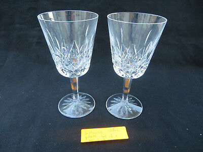 """2 Waterford Crystal Lismore Water Goblet Glasses 6 7/8"""" H Excellent"""