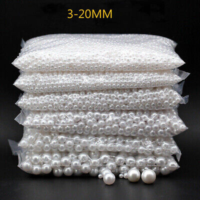 3-20mm Pearl White Round Spacer Sew On Acrylic Beads Craft Beaded Jewelry Making