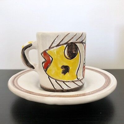 DESIMONE Italy Demitasse Cup and Saucer Plate Mid Century Art Pottery Fish