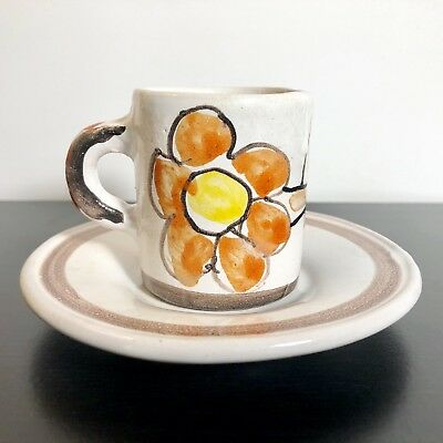 DESIMONE Italy Demitasse Cup and Saucer Plate Mid Century Art Pottery Flower