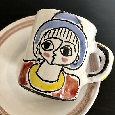 DESIMONE Italy Demitasse Cup & Saucer Plate Mid Century Art Pottery Lady Flower