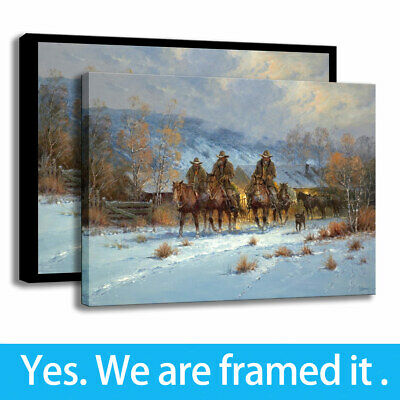 """Western Winter,Riders,Dog Painting HD Print on Canvas Home Decor Wall Art 18x24/"""""""