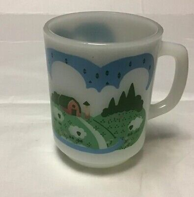 Vintage Anchor Hocking Coffee Mug Milk Glass Barn Sheep