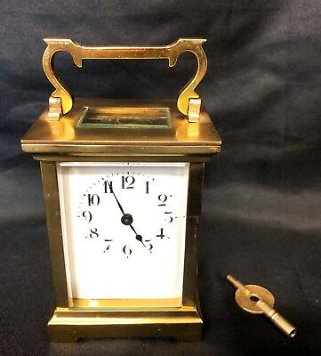 Vintage French Duverdrey & Bloquel Brass Carriage Clock Bevelled Glass SERVICED
