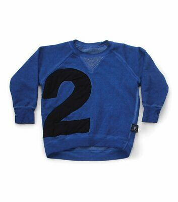 Nununu Size 12-14Y Blue Unisex Sweatshirt 100% Cotton