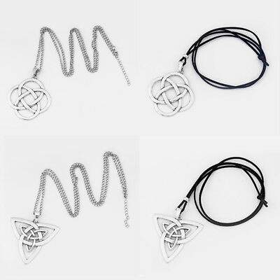 Large Tibetan Silver Celtic Chinese Knot Pendants Necklace Link/Leather Cord