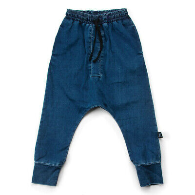 Nununu Size 10-11Y Unisex Denim Oversized  Pants 100% Cotton